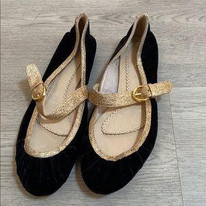 Black Velvet & Gold Flats 9